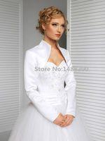 Elegante de Manga Longa Bolero Do Casamento Acessório Do Casamento Branco / Preto Casaco De Noiva Casaco Wraps Casamento Jaqueta para a Noiva Mingli Tengda