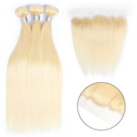 Bleach Blonde 613 Color 2 Bundles with 4*13 Ear to Ear Lace ...