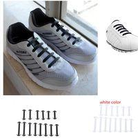 14pcs / pack Elastico senza cravatta Lacci delle scarpe Silicone Unisex Sport Running Sneakers Luminoso Lacet Fit Cinghia Chaussure Bue corno scarpa Lace