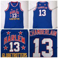 Mens Wilt Chamberlain Harlem Globetrotters # 13 jerseys de basquete vintage azul bordado camisas costuradas s-xxl