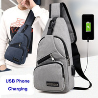 Men Leisure Bags USB Phone Charging Chest Sling Bag Travel O...