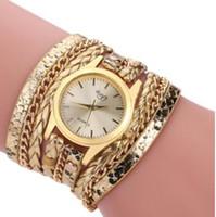 ジュエリーブレスレットウォッチのための女性二つに織りの蛇行の織りの腕時計ホットファッション
