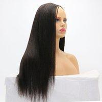 Parrucca dei capelli umani indiani U Parte Yaki Dritto Brasiliano Remyhair Parrucche da richiamo per le donne nere