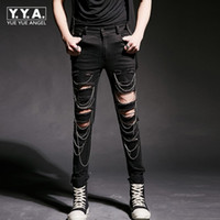 2018 New Fashion Mens Punk Rock Hole Ripped Pants Korean Sli...