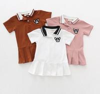 Nuevas llegadas niñas Niños 100% algodón manga corta cuello abajo volantes vestido causal verano niñas vestidos