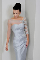 Modest Sheer Neck 3 4 Long Sleeves Mother of the Bride Dress...