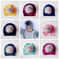 2018 Baby fall winter hats Wholesale Christmas fur pom poms ...