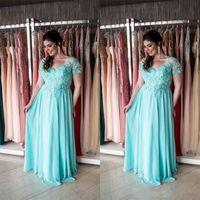 Aqua Plus Size Mother Of The Bride Abiti maniche corte Maxi grandi taglie formali matrimoni Guest Dress per le donne grasse usura serale