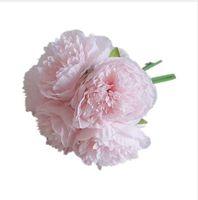 1 букет искусственный цветок Пион свадебный букет поддельные цветок для Рождества свадьба Главная декоративные Шелковый Пион осень Flowe