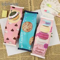 1 ADET Kızlar Için Kawaii Yaratıcı Macaron Okul Kalem Kutusu Çikolata Kraker PU Deri Kalem Çantası Çocuklar Hediye Okul Malzemeleri