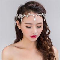 Moda strass argento donne da sposa fronte fronte testa catena copricapo  ciondolo di cristallo sposa tiara 733cf4bae3d8