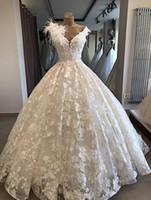 Abiti da sposa del vestito da sposa dell abito da ballo del pizzo del campione reale Plus Size Vestidos De Noiva V Collo Abiti da sposa Sudafrica 2018