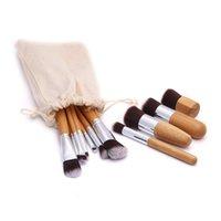 20 conjunto de Maquiagem De Bambu Natural 11 pcs Escovas com Saco de Cosméticos Profissionais Delineador Kit Escova Macio Kabuki Fundação Ferramenta de Mistura