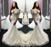Elegant Bridal Gowns Jewel Sheer Neck Half Sleeves Wedding Gowns With Lace Applique Back Zipper Mermaid Custom Made Wedding Dresses