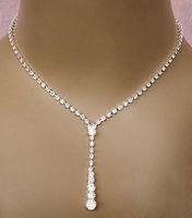 Bling Crystal Bridal Jewelry Set 실버 도금 목걸이 다이아몬드 귀걸이 신부를위한 웨딩 보석 세트 신부 들러리 여성 액세서리
