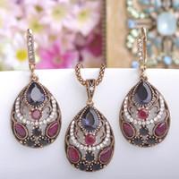 2018 new Vintage Women Necklace Earrings Sets Antique Gold Turkish Jewelry Set Blue Acrylic Heart Pendant Colar Long Pendientes Brincos