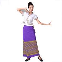 traje étnico Tailandia ropa mujeres del estilo de la danza desgaste de la etapa Tailandia desgaste tradicional verano elegante vestido de fiesta vestido dama de Asia