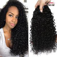 Indian Kinky Curly Human Hair Extensions de cheveux humains non transformés Cheveux humains indiens bouclés Grossistes Cheveux Vierge indienne 3/4 Bundles