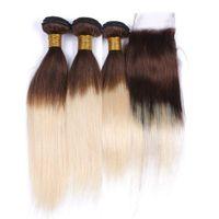 Peruanische braune und blonde Ombre Virgin Haarwebart mit Verschluss Straight 4 613 Mittelbraune Wurzel Blonde Ombre 4x4 Spitzenverschluss mit 3 Bundles
