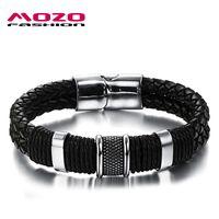 Мода мужчины браслет черный кожаный браслет из нержавеющей стали магнитные застежки браслеты мужской старинные ювелирные изделия MPH891
