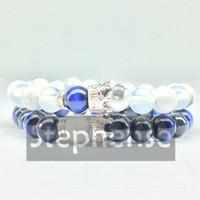 CZ0034 New Design 2018 Crown Bracelet Bracciale in pietra naturale blu Tiger Eye Stone Bracciale da uomo Bracciale in acciaio bilanciato all'ingrosso