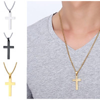 Classic Mens Cross Pendant Necklace Christian Titanium Steel...