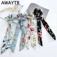 AWAYTR Print Chiffon Elastic Hair Band Scrunchies Bow Hair Ropes Sweet Ladies Head Band Girls Ties Women Hair Accessories