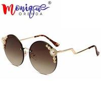 5351239953d Progettista di marca occhiali da sole donna 2018 lusso Perla con strass  Rotondo Occhiali da sole