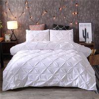 Branco edredon cobrir Set pitada plissado 2 / 3pcs Twin / Queen / King Size Roupa de cama Cama Home Hotel Uso (sem encher nenhuma folha) 38