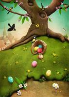 봄 경치가 좋은 사진 배경 비닐 인쇄 된 나무 트렁크 새들 나비 다채로운 부활절 달걀 아기 키즈 사진 촬영 배경