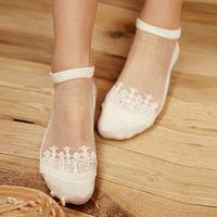 Moda sección delgada algodón inferior mujeres verano encaje calcetines cortos mujer antideslizante cristal transparente estilo invisible calcetín venta caliente