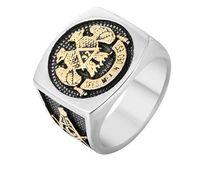 Vendita calda 316 anelli massonici a 32 gradi in acciaio inox con ali d'aquila in basso a 33 gradi per valli scozzesi di rito
