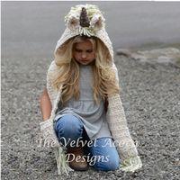70 cm hiver filles licorne écharpe à capuche enfants uniques chapeau créatif avec poche chaud filles tricotées chapeau enfants vêtements 6-12 ans