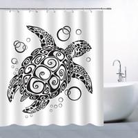 바다 동물 거북이 샤워 커튼 69 X 70 인치 폴리 에스터 방수 곰 팡이 완벽한 홈 욕실 용품 매달려 커튼 블랙 화이트