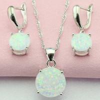 Fantastische Wit Australië Opaal Zilver Kleur Sieraden Sets Bijouterie Drop Oorbellen Hanger / Ketting Voor Vrouwen Gratis geschenkdoos