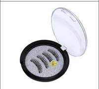 Tres estrenar del maquillaje Pestañas Profesional magnética Accesorio para ojos naturales Largo 3 imanes de las pestañas falsas de DHL
