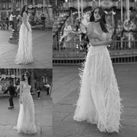 Liz Martinez 2018 Wedding Dress Sheer Spaghetti Feather Desi...