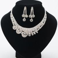 2018 vente chaude femmes mode coréenne Style cristal boucles d'oreilles de mariage réglable pendentif collier ensemble de bijoux de mariée pas cher livraison gratuite