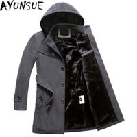 AYUNSUE erkek siyah Ceketler Kış Marka Erkekler Yün Palto Uzun Ceketler Ve Ceket Erkek Kadife Kalınlaşmak Artı Boyutu 4XL Palto LX772