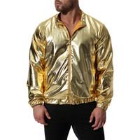 Moda Masculina Gold Silver Magro Jacket Men Discoteca Casual Coats Jacket brilhante para Male agradável New Outono Inverno