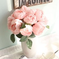 artificial roses Style 1 Bunch Fake Artificial Peony Round R...