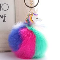 Lovely Unicorn Keychain Fluffy Rabbit Fur Ball Key Chain Pom...