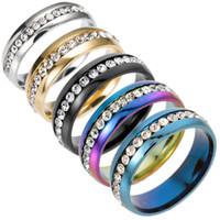 Storlek 5-13 316L guld silver svart rostfritt stål kristallring för kvinnor män band ringar engagemang bröllop smycken billigt grossist pris