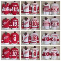 Detroit Red Wings 19 Steve Yzerman Jersey Men 40 Henrik Zetterberg 10 Alex Delvecchio 4 Gordie Howe Vintage Classic 75th White Rojo