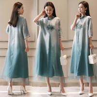 Estilo chinês Vestido de verão elegante senhora robe estilo nacional chinês cheongsam embriodered vestido de lótus moderno casual dress
