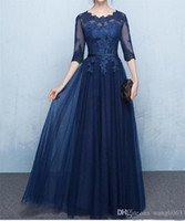 Navy Blue Lace Mother of the Bride Dresses with Half Sleeves...