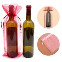 15x38 см органзы вино крышка приколы для свадьбы Рождество ювелирные изделия подарки сумки ясно органзы бутылка вина сумка подарочная упаковка мешок пользу мешок