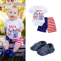 Baby 3- pieces Sets Gift Romper Shorts Baby Shoes My First 4t...