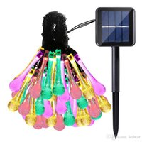 Solar String Lights Outdoor Multicolor 6M 30 LED Water Drop ...