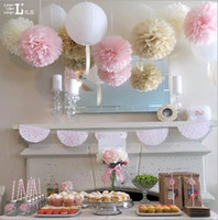 50pcs 10inch (25cm) Pompon Tissue Paper Pom Poms Flower Kissing Balls Home Decoration Festivt Party Supplies Bröllop Favoriter